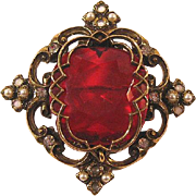 Red Hot Pin / Collectible Jewelry / Filigree Pin
