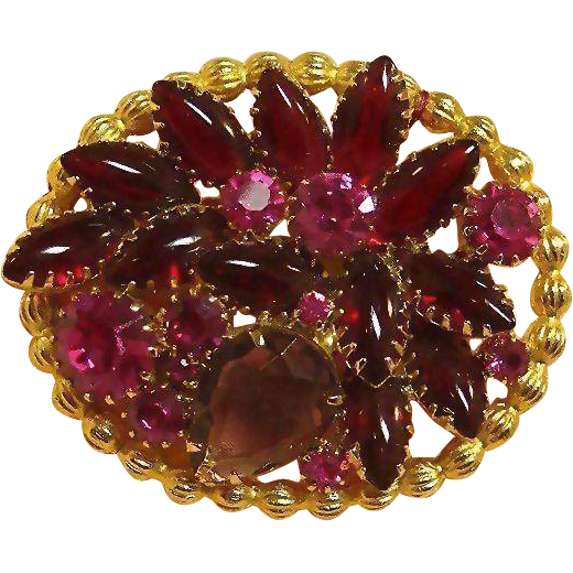 Amethyst, Hot Pink and Ruby Red Colored Stone Pin / Exceptional Vinatage Pin / Collectible Pin / Mid Century Pin