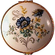 Limoges Box with Blue and Yellow Flowers / Limoges France / Porcelain Box / Collectible Box