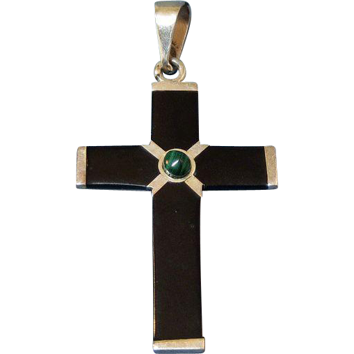 Mexico Sterling Silver Onyx Cross