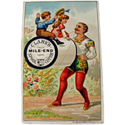 Clark's Thread Advertising Card / Circus Performer Trade Card / Sewing Advertising Card / Sewing Trade Card / Dressmaker Advertisement