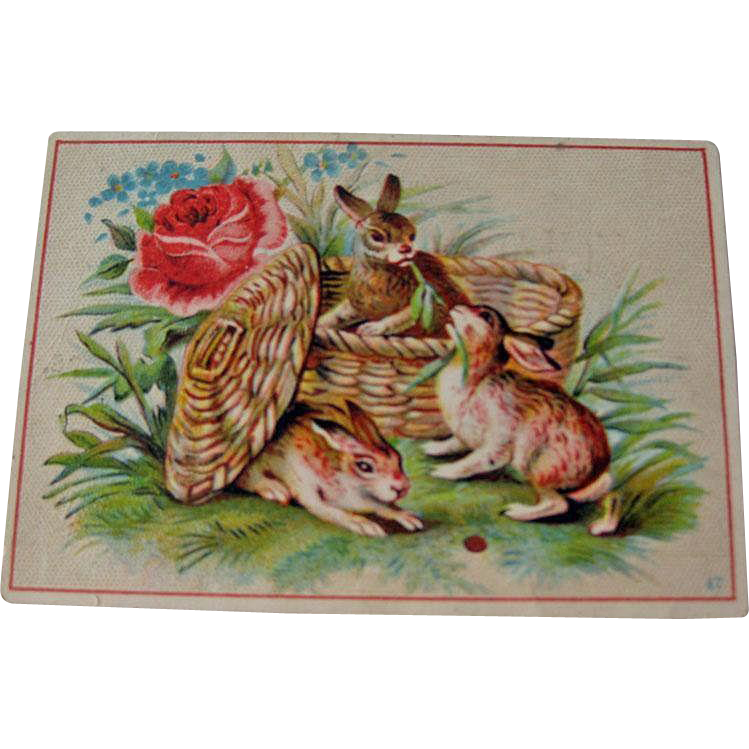 Vintage Advertising Card / Rabbits in Basket / Trade Card / Collectible Trade Card / Vintage Trade Card / Vintage Advertising