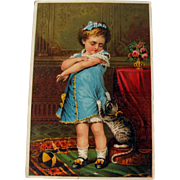 Advertising Card Girl and Kitten / VIntage Advertising Card / Collectible Trade Card / Ephemera / Tonic Advertising Card