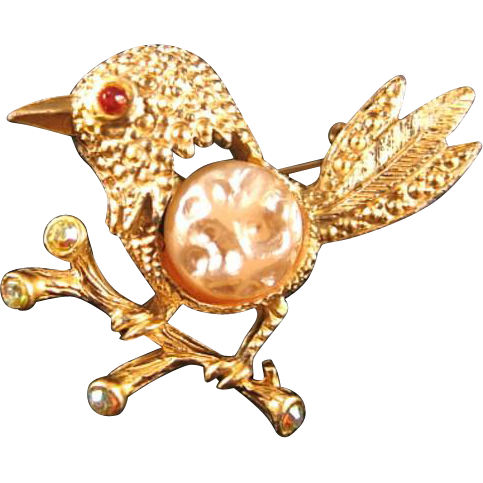 Perky Bird Pin / Collectible Bird Pin / Vintage Bird Pin