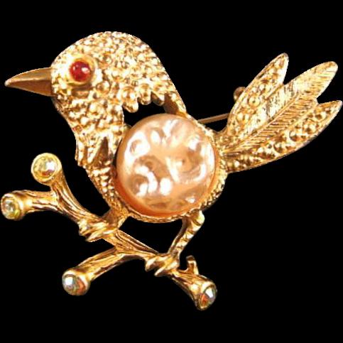 Perky Bird Pin / Collectible Bird Pin / Vintage Bird Pin