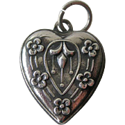 Sterling Puffy Heart Charm Bleeding Heart Flower Design / Art Deco Repousse Sterling Heart / Vintage Sterling / Collectible Heart