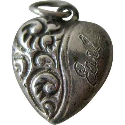 Petite Sterling Repousse Puffy Heart Charm / Sterling Heart / Puffy Heart / Vintage Heart Charm