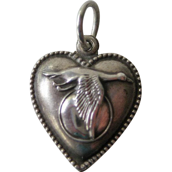 Goose Flying Past Moon Vintage Sterling Puffy Heart Charm / Vintage Heart Charm / Puffy Heart Charm