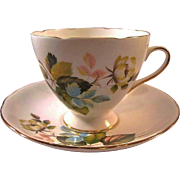Gladstone Bone China Cup Saucer Flower Decoration / Staffordshore Cup Saucer / England Bone China