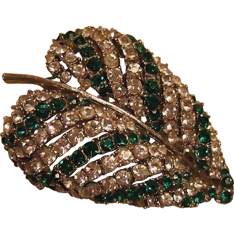 Emerald Green and Clear Rhinestones Art Leaf Pin Brooch / Vintage Jewelry / Fashion Jewelry / Designer Pin