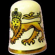 Caverswall England Thimble / Artist Signed Thimble / Lion Thimble