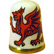 Caverswall England Thimble Whales / Dragon Thimble / Sewing Item