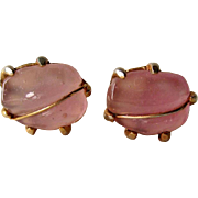 Rose Quartz Cufflinks / Vintage Cuff Links / French Cuffs / Womens Fashion / Mens Fashion