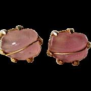 Rose Quartz Cufflinks / Vintage Cuff Links / French Cuffs / Womens Fashion / Mens Fashion