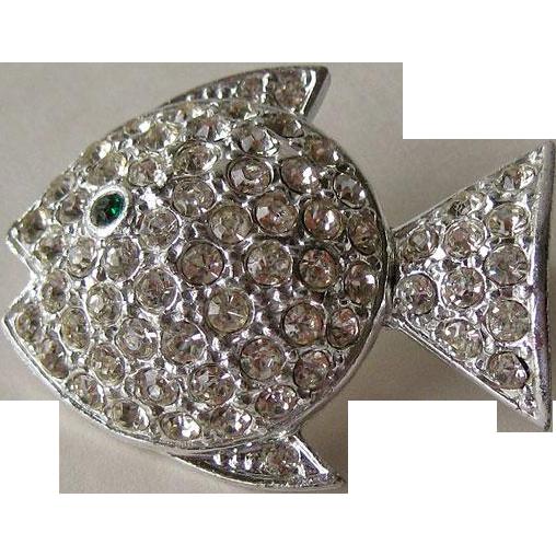 Sparkling Rhinestone Fish Pin