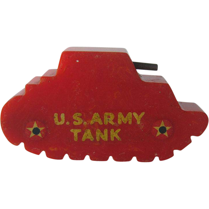 Bakelite Army Tank Pencil Sharpener / US Army Tank Sharpener / Keep 'em Rolling / Collectible Bakelite / Vintage Bakelite / Vintage Pencil Sharpener