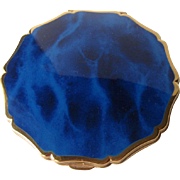 Royal Blue Marbleized Enamel Compact by Stratton England
