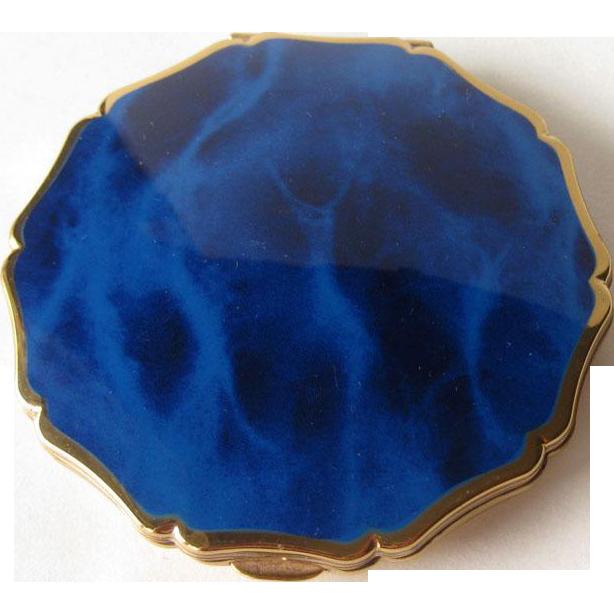 Royal Blue Marbleized Enamel Compact by Stratton England