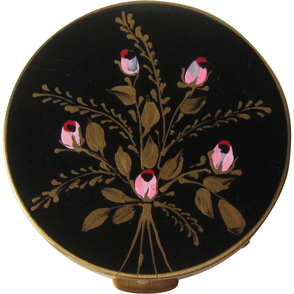 Vintage Powder Compact Hand Painted Flowers on Black Enamel/ Vanity Accessory / Purse Accessory