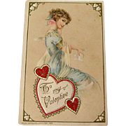 Winsch Valentine Postcard / Embossed Postcard / Beautiful Lady Postcard