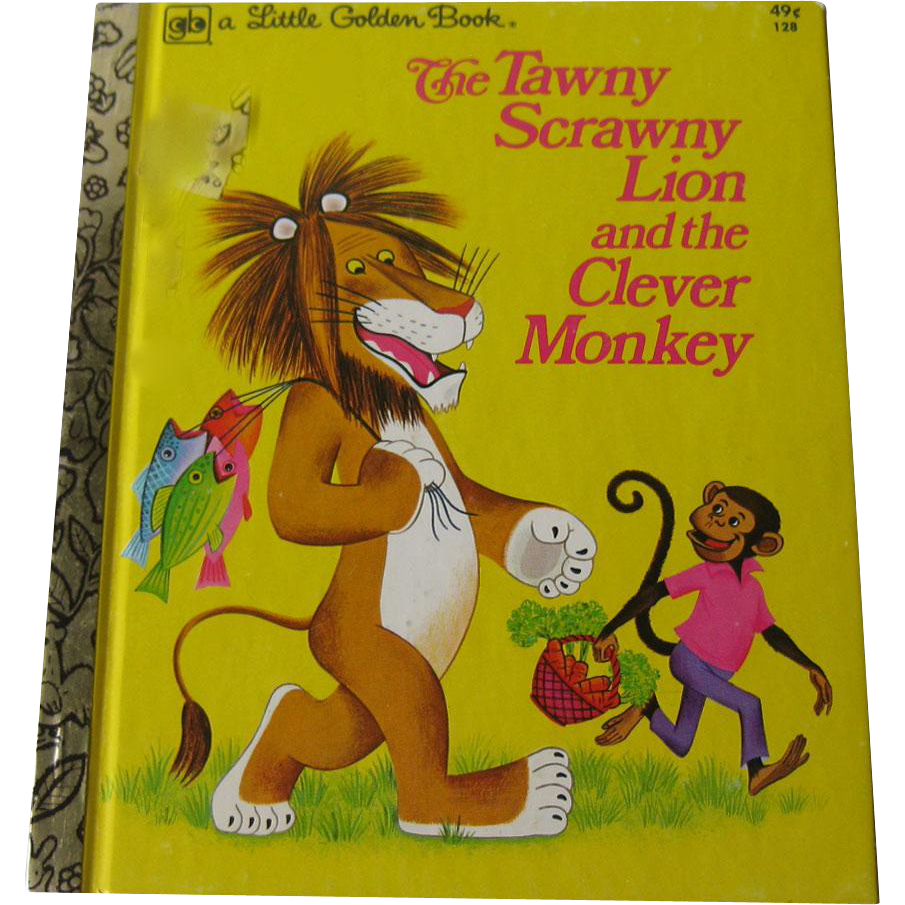 The Tawny Scrawny Lion and the Clever Monkey Vintage Little Golden Book / Illustrated Childrens Book / Story Book