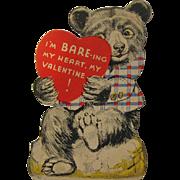 Vintage Bear Valentine / Valentine's Day  Card / USA Valentine