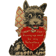 Vintage Scottie Dog Valentine / Valentine's Day Card / USA Valentine