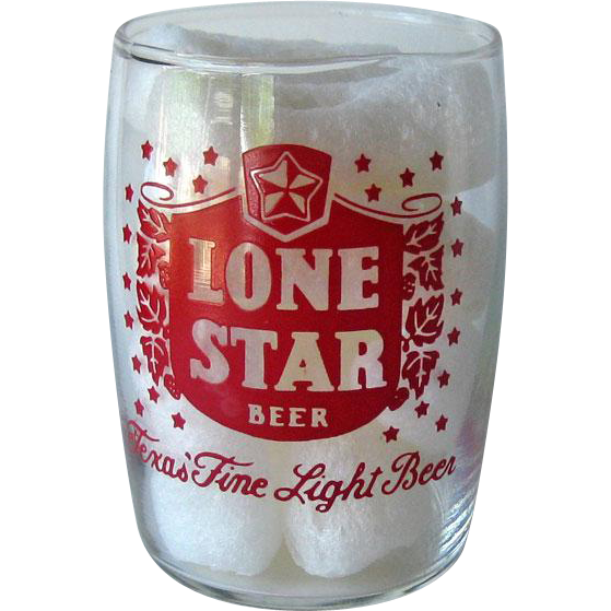 Lone Star Barrel Beer Glass / Vintage Beer Glass / Shorty Beer Glass