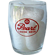Pearl Barrel Beer Glass / Shorty Beer Glass / Vintage Beer Glass