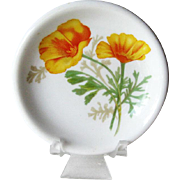 Santa Fe Railroad Butter Pat: California Poppy Butter Pat: Railroad China: Collectible Railroad