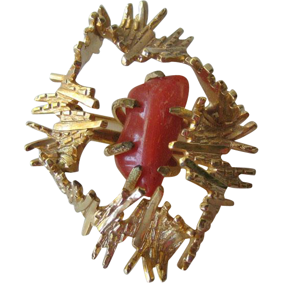 Henkel and Grosse Gold-tone Nugget and Coral Pin / Designer Jewelry / Vintage Fashion