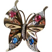 Crown Trifari Sterling Butterfly Pin / Ultimate Butterfly Pin / Fashion Jewelry