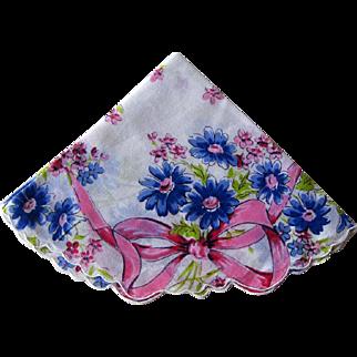 Round Handkerchif with Pink Blue Design / Round Hankie / Collectible Hankie