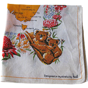 Australia Hankie by Heil / Australia Handkerchief / Collectible Hankie