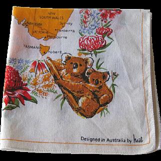 Australia Hankie by Heil / Australia Handkerchief / Collectible Hankie