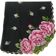 Black Hankie Pink Rose Decoration / Burmel Hankie / Handkerchief of Month / Mid Century Hankie