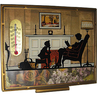 Silhouette Reverse Painted / Childrens Hour / Thermometer / Calendar / Hand Painted