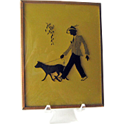 Silhouette Reverse Painted Man Walking Dog / Hand Painted Man Smoking