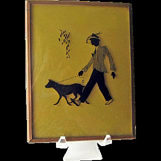 Silhouette Reverse Painted Man Walking Dog / Hand Painted Man Smoking