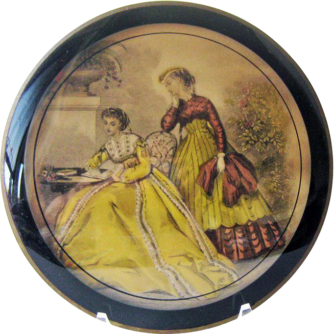 Reverse Painting with Godey Fashion Print / Victorian Fashion / Bilderback Detroit
