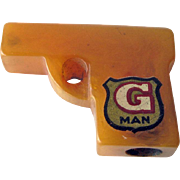 G Man Bakelite Pencil Sharpener / Keychain Sharpener / Collectible Bakelite / Bakelite Gun / Vintage Bakelite