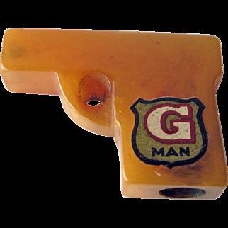 G Man Bakelite Pencil Sharpener / Keychain Sharpener / Collectible Bakelite / Bakelite Gun / Vintage Bakelite
