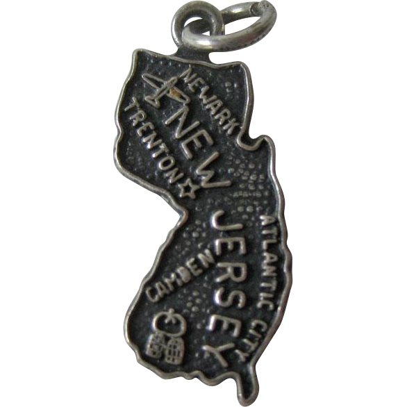 New Jersey Sterling State Charm / Sterling Silver Charm