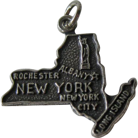 Vintage New York Sterling State Charm / Sterling Silver Charm