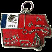 Iowa State Charm Enamel Silver-Tone / Charm Bracelet / Costume Jewelry / Vintage Charm