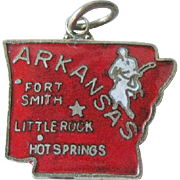 Arkansas State Charm Enamel Silver-Tone / Charm Bracelet / Costume Jewelry / Vintage Charm