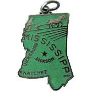 Mississippi State Charm Enamel Silver-Tone / Charm Bracelet / Costume Jewelry / Vintage Charm