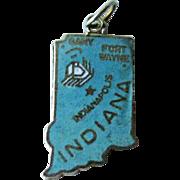 Indiana State Charm Enamel Silver-Tone / Charm Bracelet / Costume Jewelry / Vintage Charm