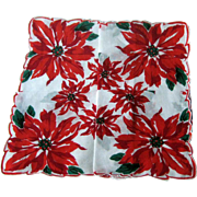 Christmas Hankie with Large Poinsettia Pattern / Holiday Hankie / Vintage Handkerchief