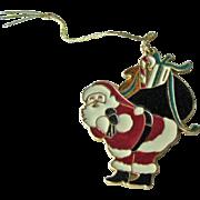 Wallace Silversmiths Santa Pendant Ornament / Christmas Ornament / Holiday Decor / Christmas Decor